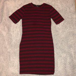 Red with black body con mini dress